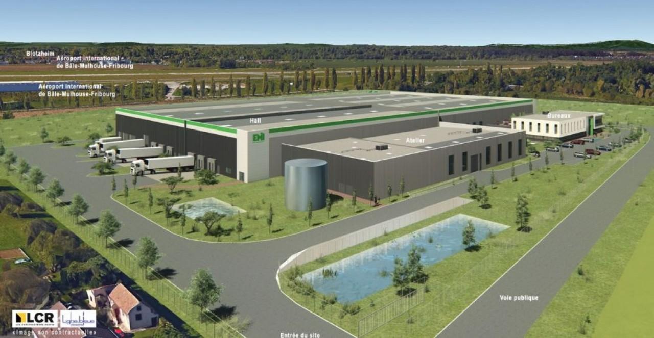 L'un des derniers gros projets industriels de LCR, la nouvelle usine du plasturgiste EMI à Saint-Louis (haut-Rhin) inaugurée en septembre 2018. © Ligne Bleue.
