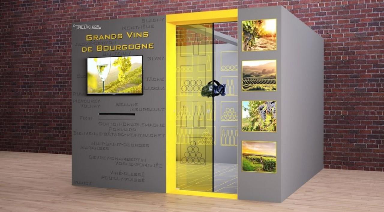 Simulation d'une cabine de réalité virtuelle sur un marché visé par la start-up : le tourisme. © Jaluxi.