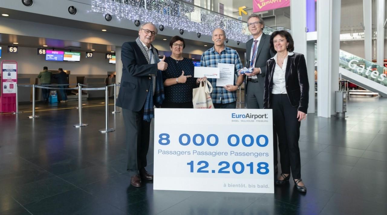 L'EuroAirport a symboliquement accueilli son 8 millionième passager de 2018, début décembre. © EuroAirport.