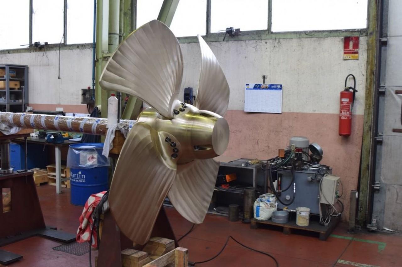 Une hélice à pas variable, l'une des innovations de Masson Marine. © Traces Écrites.