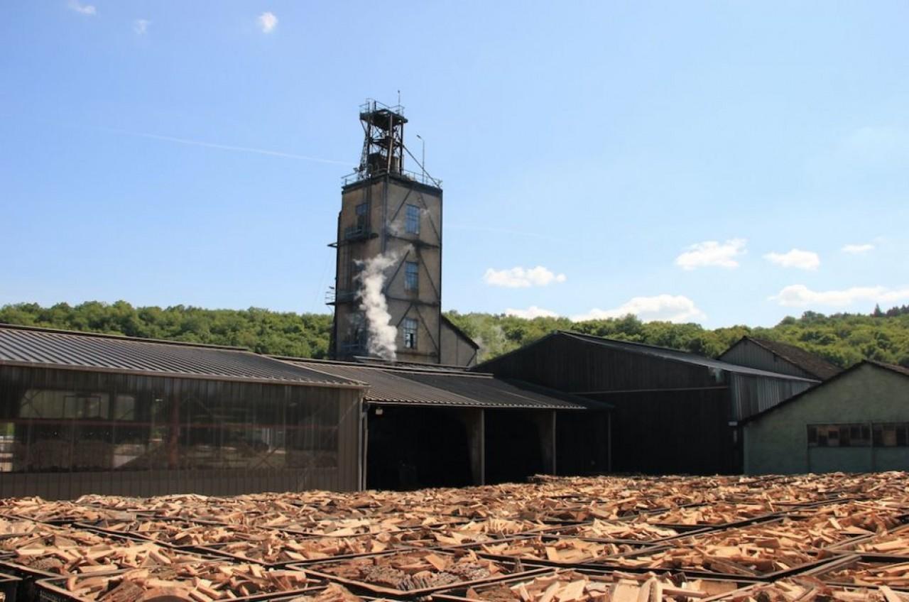 Le site de bordet, à Leuglay (Côte-d'Or) et des délignures ou croûtes de bois, des chutes courtes de scierie et des rondins de taillis sous futaie, prêts à la carbonisation. © Bordet.