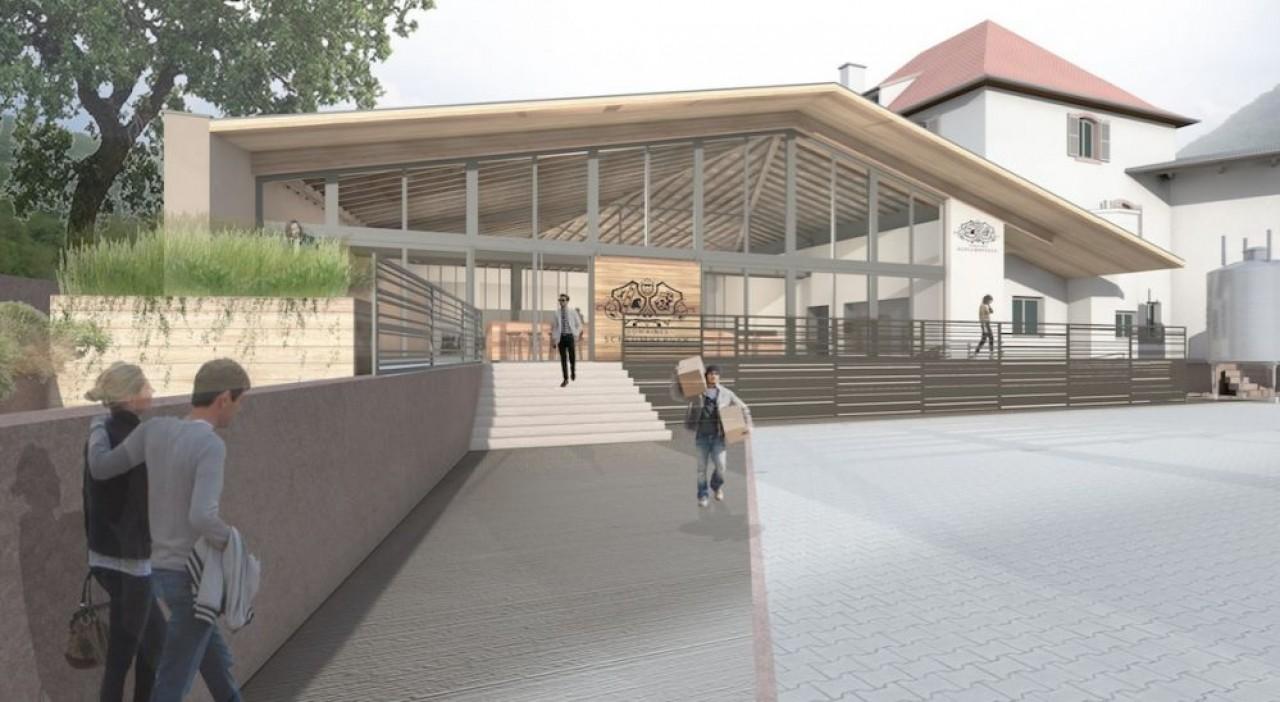 Avec ce nouveau caveau qui ouvrira en mai à Guebwiller, les domaines Schlumberger veulent développer la vente directe et contribuer à la promotion des vins d'Alsace. ©Marie Lettermann, architecte