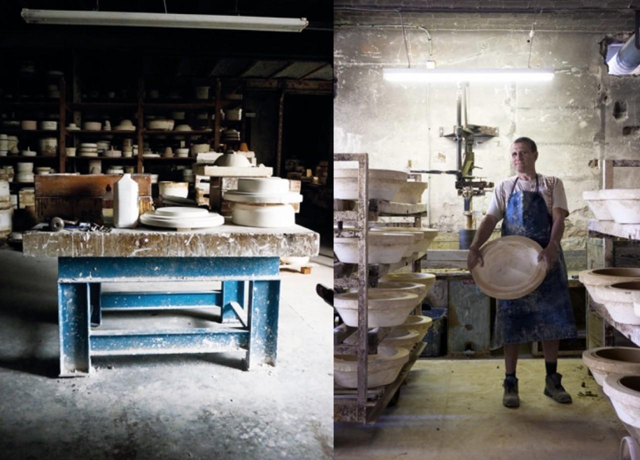 Atelier de modelage et calibreur main à la faïencerie de Digoin. © Fayencerie de Digoin.