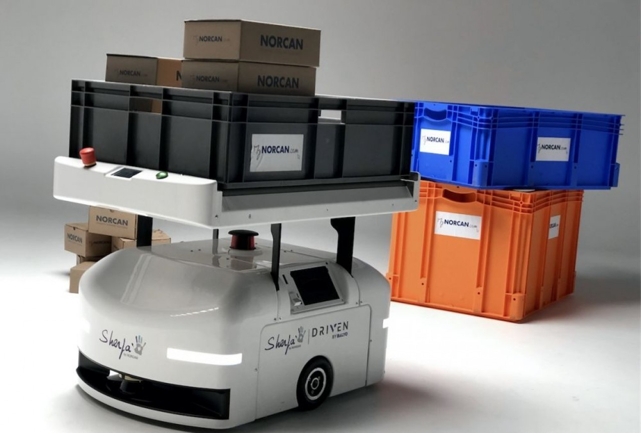 Après Sherpa, un robot d'assistance à la manutention, Norcan sortira en fin d'année un robot pour le transport de palettes. © Norcan