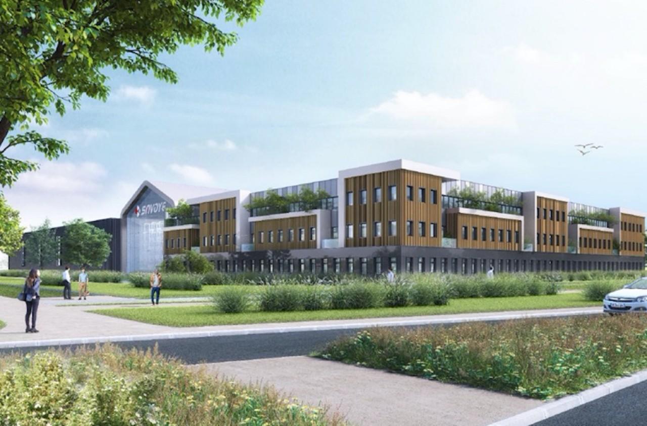 Le futur site Savoye de 13.000 m2 sur un terrain de 6 hectares dans le sud de l'agglomération dijonnaise. © Alsei.