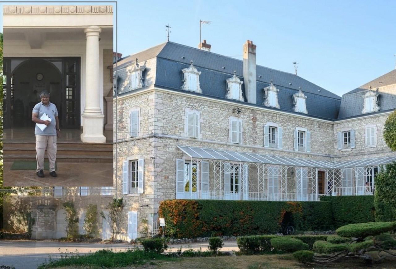 Le château d'Étroyes à Mercurey (Saône-et-Loire) et son vignoble de 50 hectares qu'a acheté Ravi Viswanathan, en photo en vignette, dans son domaine indien.