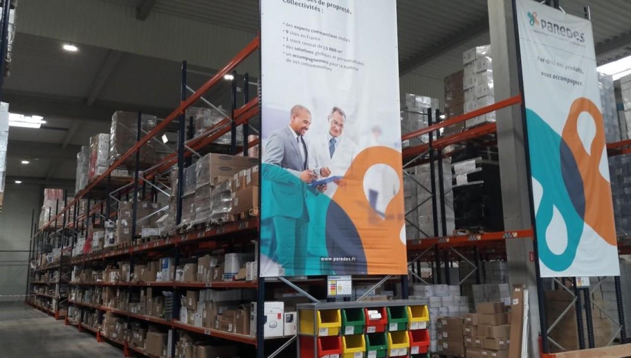 La nouvelle plate-forme de distribution de Paredes, à Ensisheim, concerne ses clients de la santé-pharmacie, de l'industrie, des entreprises de propreté et des collectivités, situés en Alsace, en Lorraine et en Franche-Comté (hors Jura). ©Paredes.