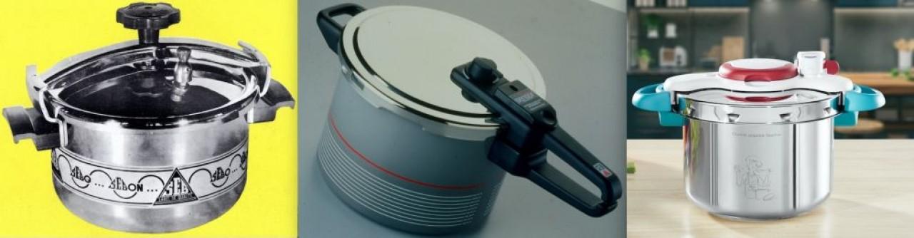 De g. à d., la Super Cocotte SEB, sortie en1953 et sa fermeture à étrier. Le Sensor (modèle de 1987) et son verrouillage à baillonnette. Le Clipso, aujourd'hui, qui se ferme et s'ouvre d'une main grâce à un système breveté et sa poignée en forme d'arche.