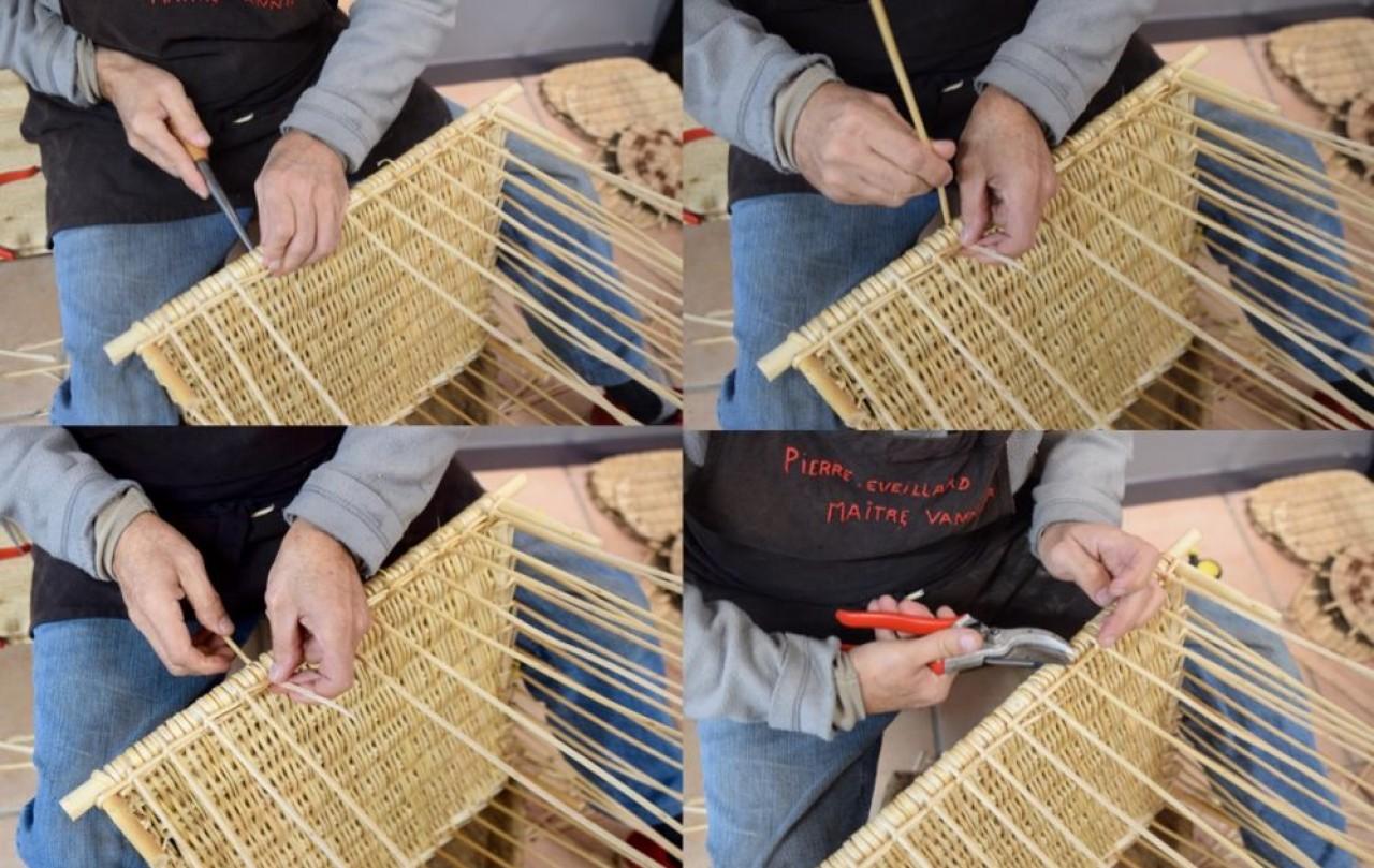 Démonstration de tressage d'osier à la boutique-atelier du Comité de Développement et de Promotion de la Vannerie à Fayl-Billot. © Traces Ecrites