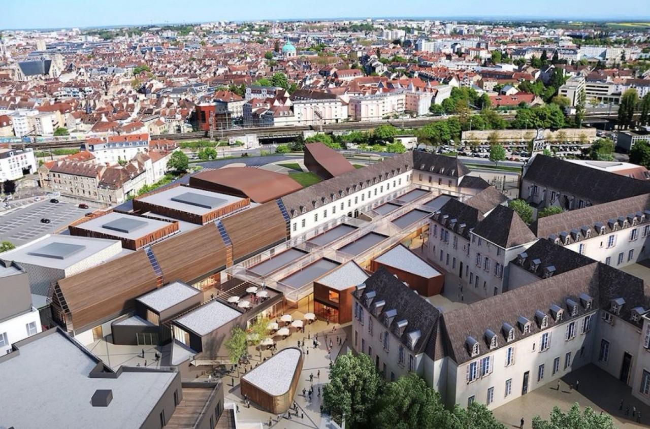 La future Cité de la gastronomie et du vin de Dijon confiée par la ville à Eiffage: 1.750 m2 d'expositions devant illustrer le repas gastronomique des Français, 3.500 m2 de commerces et 640 logements. © AntoninBechu