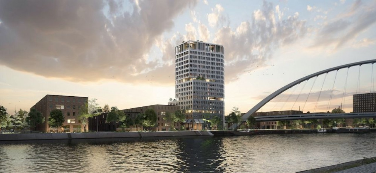 La tour Deux Rives à Strasbourg, un projet du promoteur 3 B, l'une des constructions de grande hauteur, présentée comme «signal» d'une nouvelle silhouette urbaine… ©3B
