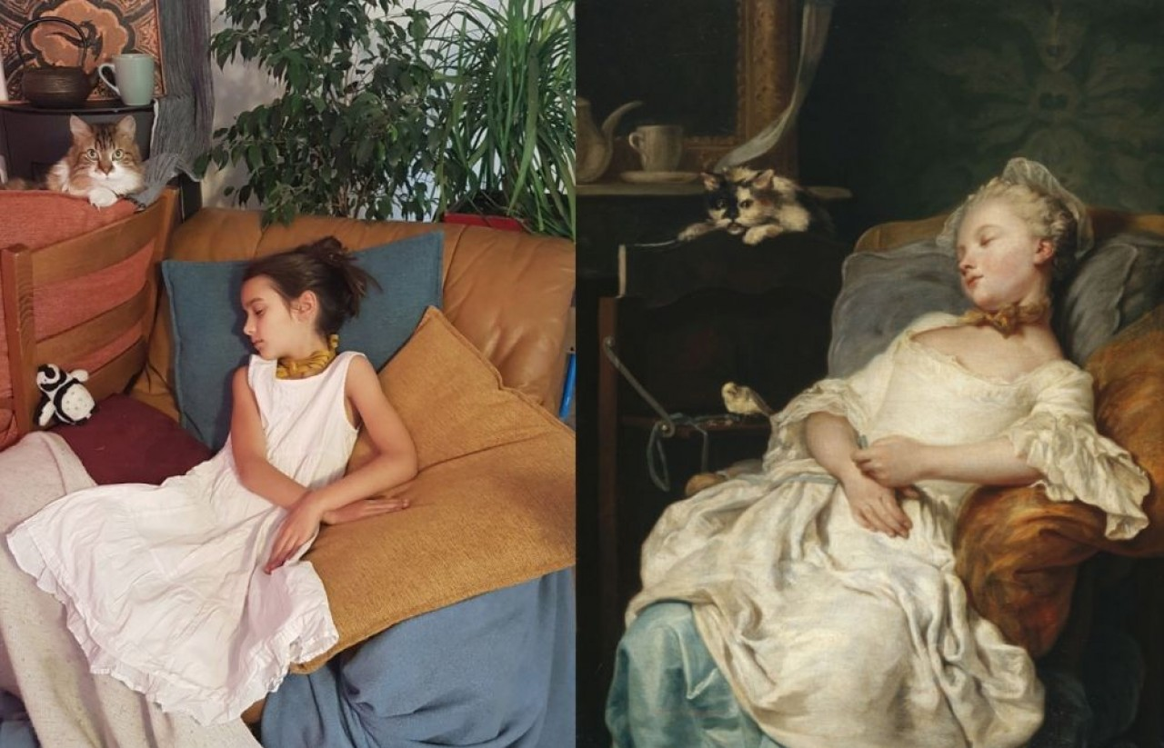 Réinterprétation du tableau «Le repos» de Jean-François Colson (18e siècle), par Angélique Rucklin, participante au concours «Réinterprétons les oeuvres des musées français» auquel prend part le musée des Beaux-Arts de Dijon. © Angélique Rucklin.