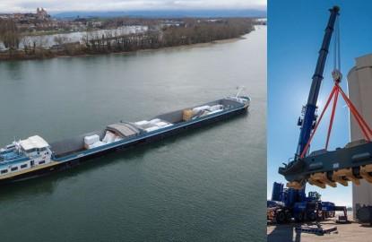 Pour transporter ses méga-pelles, Liebherr teste le fluvial depuis le port de Colmar