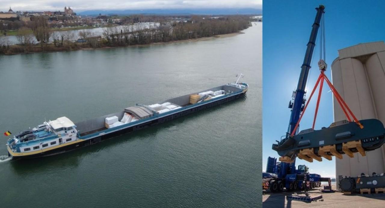 Pour transporter ses pelles géantes vers les lieux d'extraction minière dans le monde, Liebherr teste le fluvial depuis le port de Colmar.