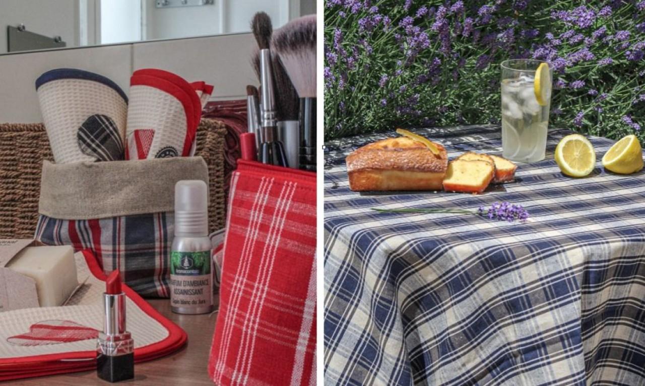 La verquelure, déclinée en deux coloris, rouge et bleu, est transformée en trousses, sacs, linge de table… © Pays de Montbéliard Tourisme