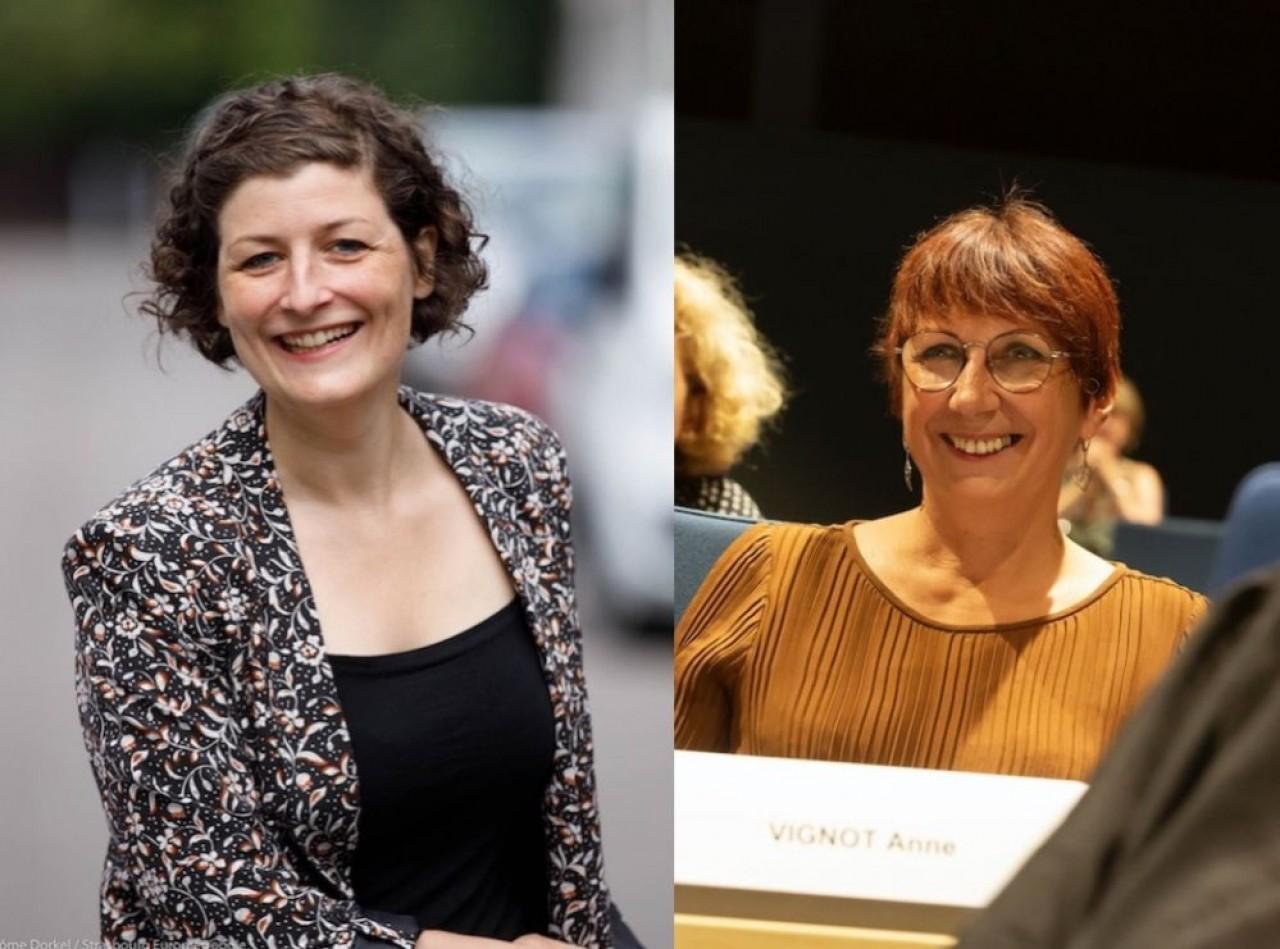 Deux femmes écologistes élues maire : à gauche, Jeanne Barseghian  à Strasbourg (© Jérôme Dorkel / Ville et Eurometropole de Strasbourg) et Anne Vignot, à Besançon. (© Jean-Charles Sexe)