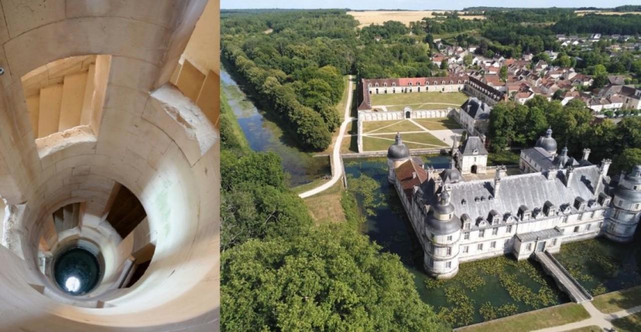 L'escalier singulier du château de Maulnes (à gauche) et vue aérienne du château de Tanlay et son canal de plus de 500 mètres (à droite).