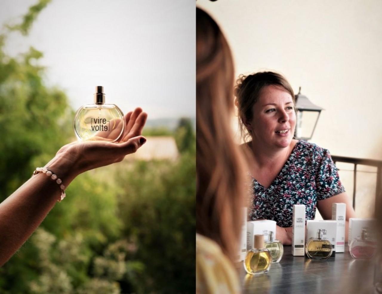 Julie Desoomer a mis plus de deux ans pour mettre au point son eau de parfum (à gauche). © Quentin Guirao