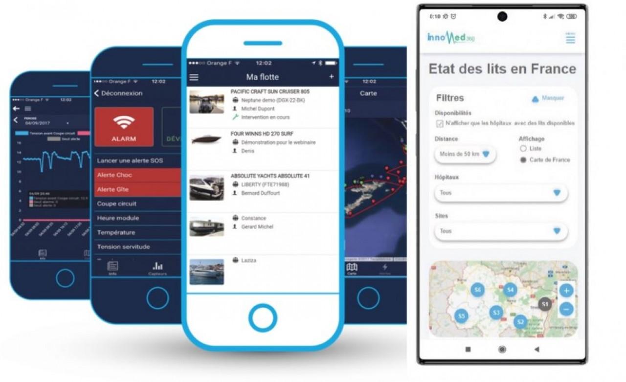 La plateforme MedBed360 ( à gauche) partage en temps réel l'état des lieux des disponibilités des lits d'hôpitaux. Le logiciel de NautiConcept (à gauche) ouvre le champ de la location aux particuliers, propriétaires de bateaux.