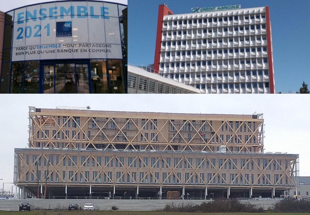 Les sièges sociaux des trois banques, situés à Dijon, avec en bas le futur siège tout en bois de la Caisse d'Épargne, en construction. © Traces Ecrites