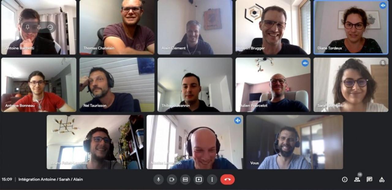 Toute l'équipe de Flexio en visio-conférence lors des confinements. © Flexio