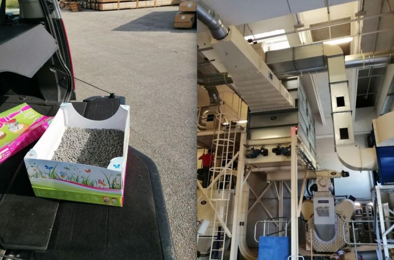 Litière prête à l'emploi et la machine qui produit les pellets issus de rognures de carton. © Bioviellance