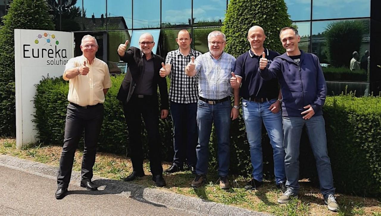 Le nouveau comité de direction d'Eurêka Solutions (de g. à dr.): Francis Staine, Sergio Ficara (dg), Philippe Fanchin, Henri Stuckert (président), Stéphane Vuillemin, Emmanuel Esteves.