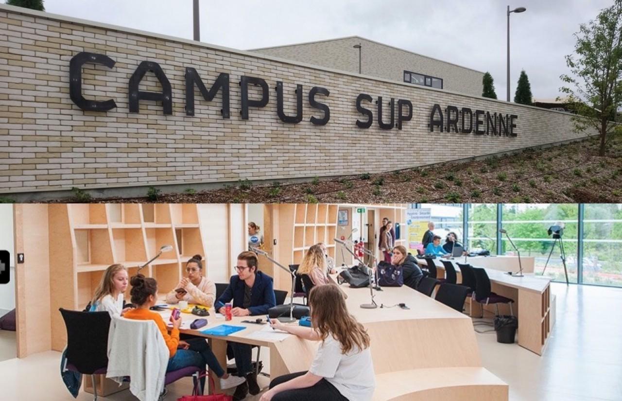 Le « Campus Sup Ardenne » érigé en 2019 sur le site du Moulin Le Blanc à Charleville-Mézières pour donner aux étudiants le sentiment d'appartenir à une communauté universitaire. © Ardennes Métropole