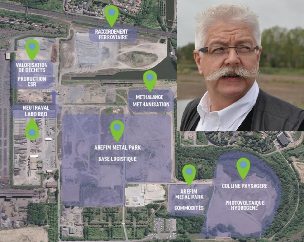 Philippe Beck, président du conseil de surveillance de groupe Beck. © Philippe Bohlinger. En vignette du plan d'aménagement des 65 hectares de la friche sidérurgique de Talange-Hagondange, en Moselle.