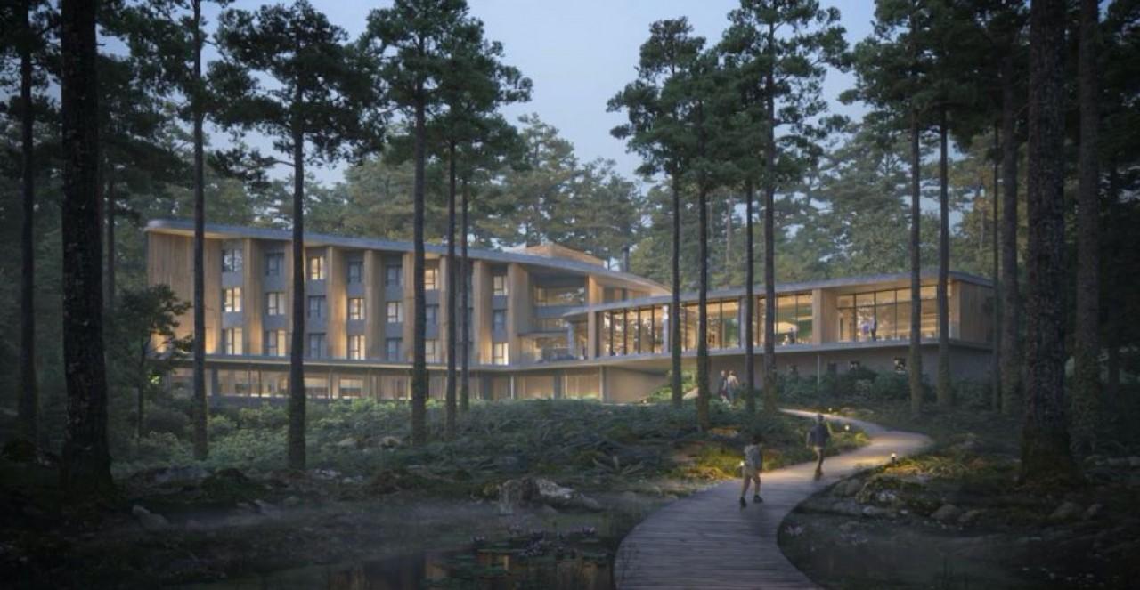 En construction en prévision d'une ouverture en mai 2022, le complexe oenotouristique de Mutigny, dans le vignoble d'Epernay, comprenant notamment un hôtel 4 étoiles  de  101 chambres.  © Agence Jouin  Mankuen  et SLA  Architecture.