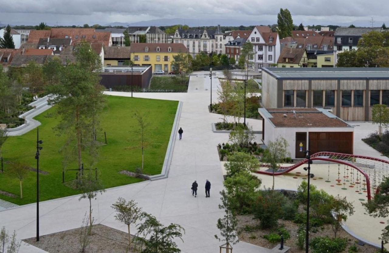 L'une des missions récentes de Geotec, les études géotechniques et géo-hydrauliques pour le futur parking souterrain coiffé d'un parc public de la ville de Colmar. © AEA Architectes