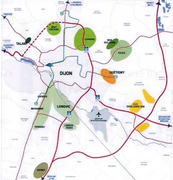Les zones d'activités de l'agglomération dijonnaise : au nord-est, le parc d'activités de l'est dijonnais (P.A.E.D.) commercialisable à partir de 2014.