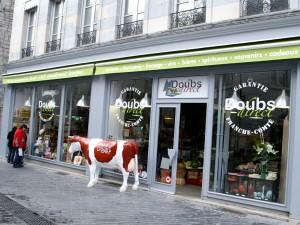 La vitrine de Doubs Direct à Besançon : à Dijon, il y a aura aussi la vache ; elle est en fabrication.