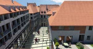Logements en surplomb de la verrière du centre commercial (Crédit : Héritage Virtuel/ Architectes Chapman-Taylor et Laffly-Morel).