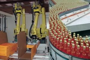 Illustration du savoir-faire complémentaire de la nouvelle entité Gebo Cermex. A gauche des robots encaisseurs estampillés Cermex. A droite un convoyeur à boissons signé Gebo.