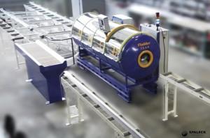 Installation d'ébavurage et de rayonnage conçu par Spaleck Industries pour profilés aéronautiques.