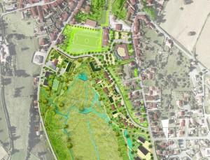 Réalisé par le dijonnais Urbicand, le schéma d'aménagement de cet espace de 10 hectares exploite les courbes de niveau du terrain en forme d'amphithéâtre