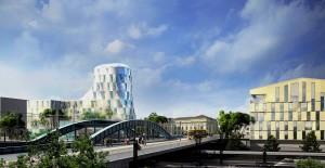 Le nouveau quartier d'affaires Gare de Mulhouse aménagé par la SERM (esquisse Nicolas Michelin).