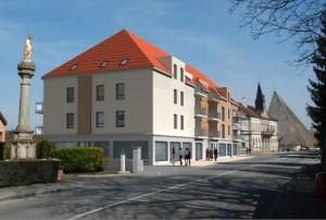 Le centre de la commune d'Illfurth en cours de requalification : un exemple typique d'intervention en bourg-centre de la Semha.