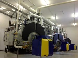 Hébergée dans un bâtiment tout neuf, construit dans le prolongement des ateliers de fabrication des turbines sur le parc d'activités Techn'Hom, l'installation comprend deux chaudières au gaz de six mégawatts chacune