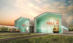 Image de synthèse de l'unité de maintenance et sa double halle. (Babylone Avenue)