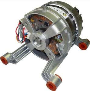 Le nouveau moteur mis au point par Selni. Il offre 40% de gain d'énergie et rend le lave-linge plus silencieux.