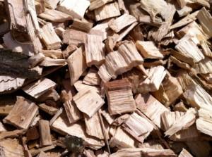 Exemple de plaquettes forestières prêtes à l'emploi.