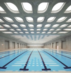 La piscine olympique de Londres et son plafond acoustique signé Barrisol. (Photo : Hufton et Crow)