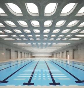 La piscine olympique de Londres et son plafond acoustique signé Barrisol. (Photo : Hufton et Crow)