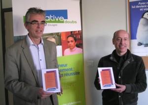 Les lauréats d'Initiative Doubs : Thierry Beaujon, dirigeant de TDC Software (à gauche) et Pierre Arnaud, fondateur du groupe EPS.