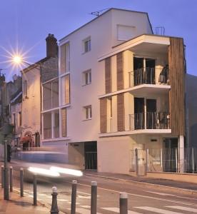 4 logements collectifs en prolongement d'un angle d'immeuble à Chalon-sur-Saône. Photo : Jérôme Beg.