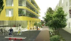 L'aménagement démarre le long du canal, au nord avec un  programme de 280 logements et 5500 m2 de bureaux et commerces.  Image : l'AUC.