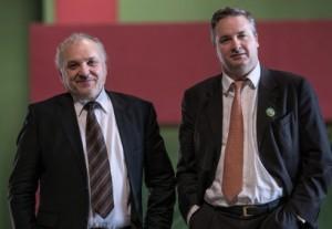Claude Chevalier (à droite) et Louis Fabrice Latour, respectivement président et président délégué du BIVB. (Photo : Clément Bonvalot)