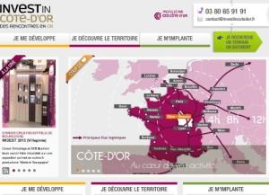 Capture d'écran de la page d'accueil du site Invest in Côte-d'Or.